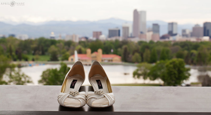 Wedding Photography at Denver Museum of Nature and Science Denver Skyline Backdrop
