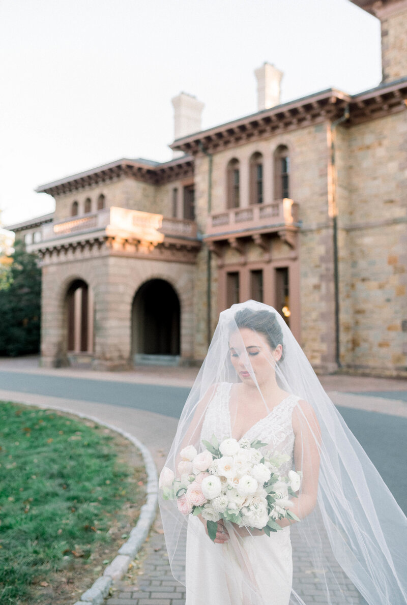 Fine art bride with veil and blush florals on film in Princeton by Liz Andolina Photography