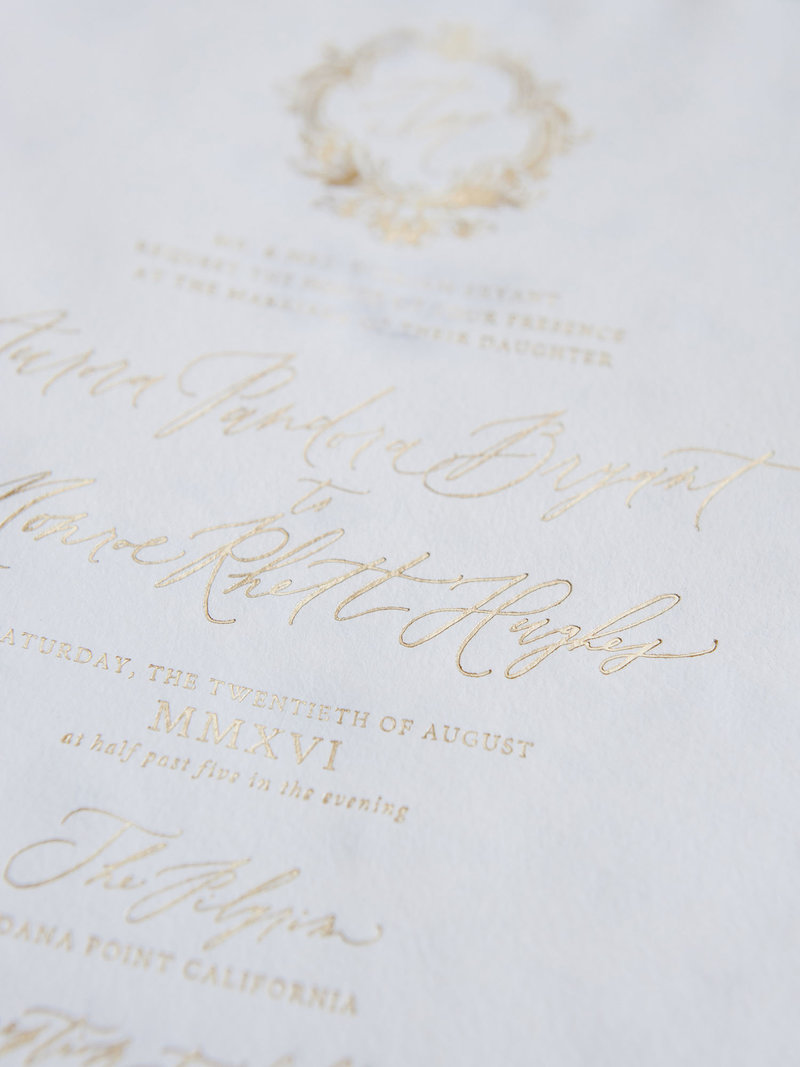 Semi-Custom Invitations - Romantic Chateau Collection  4-Piece Suite Gold Foil on Handmade Paper
