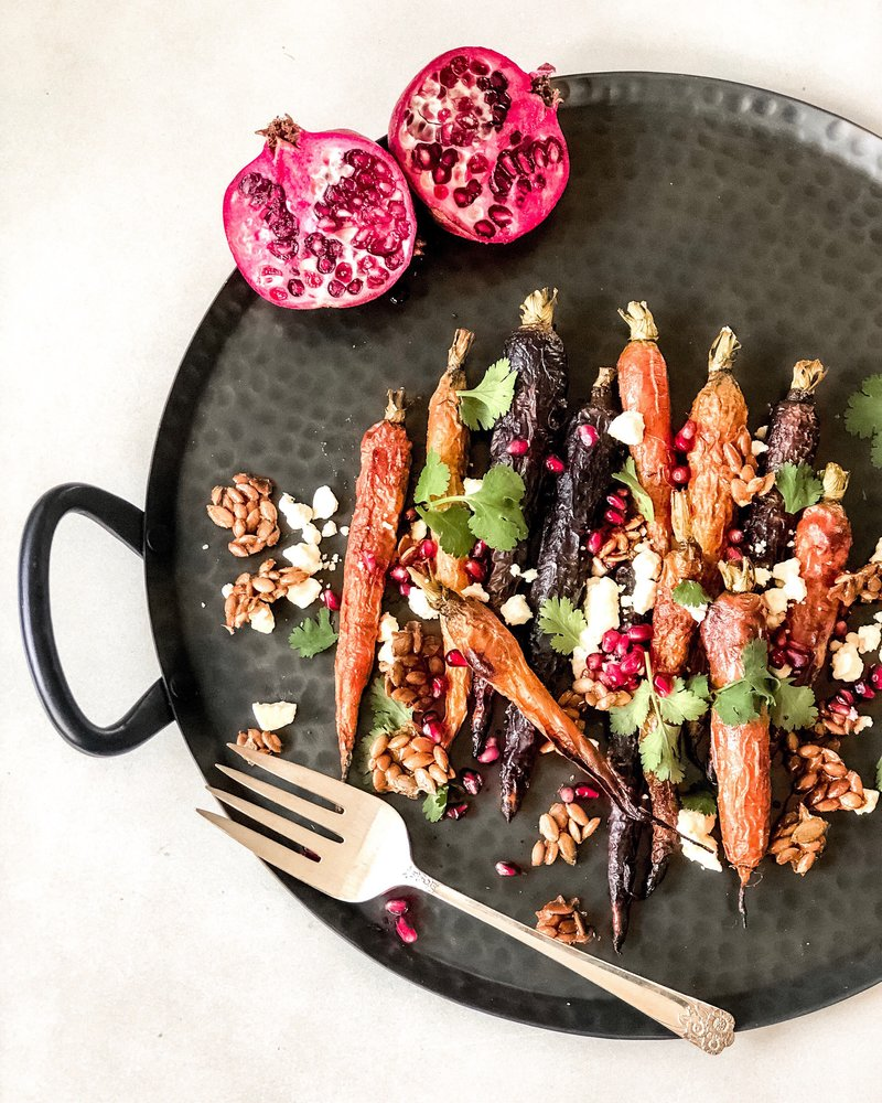 large platter filled with rainbow carrots