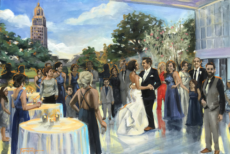 Torregrossa Fine Art original live wedding painting by Stephanie Torregrossa Gaffney 2018 New Orleans  Baton Rouge Capital Park Museum Wedding