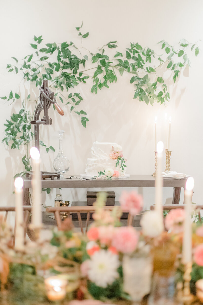 florals and cake table at French Inspired Private Estate wedding in charlottesville virginia by costola photography