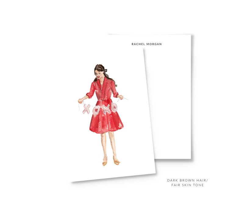 valentines personalized stationery dark brown hair the illustrated life