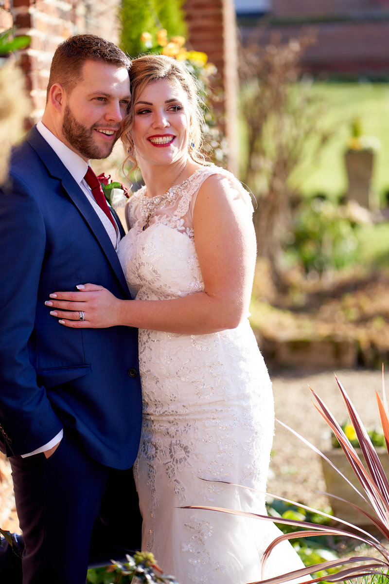 Bride and groom at Leez priory wedding venue in essex