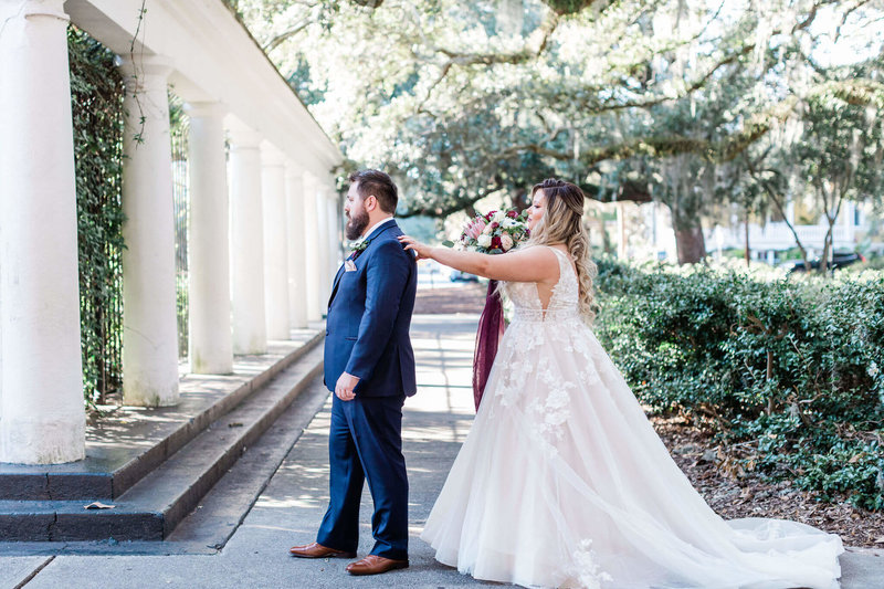 Bride and groom portraits in Forsyth Park