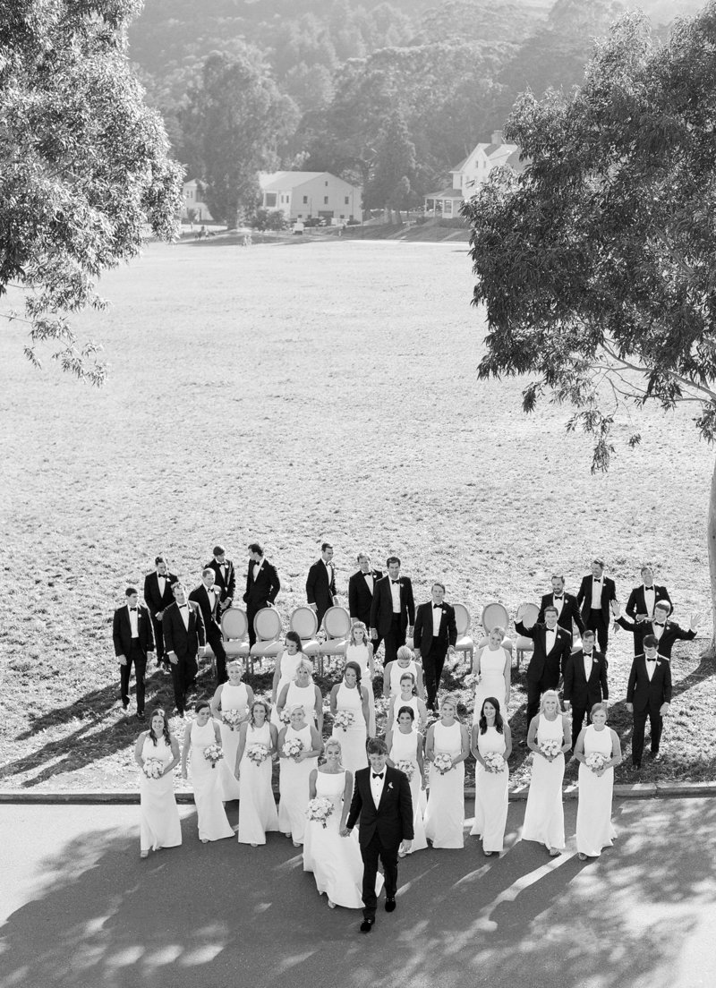 Black and white photo of bridal party for Cavallo Point Wedding by Jenny Schneider Events.