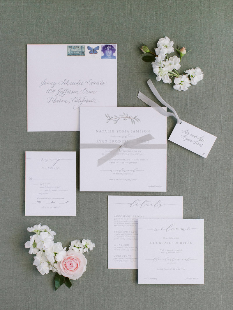 Invitation for wedding by Jenny Schneider Events at Meadowood luxury resort in Saint Helena in Napa Valley, California.