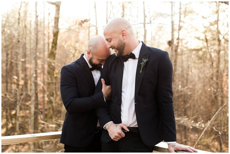 Gay Couple Poses for Gay Atlanta Wedding Photographer