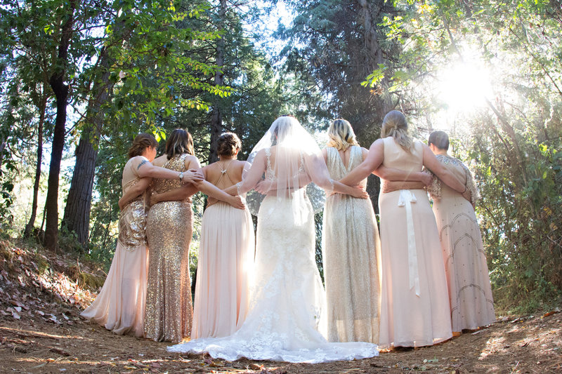 bridesmaids in forest