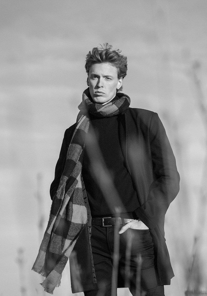 young male model with scarf black and white picture