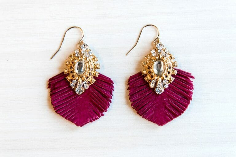 Jeweled earrings with pink fringe