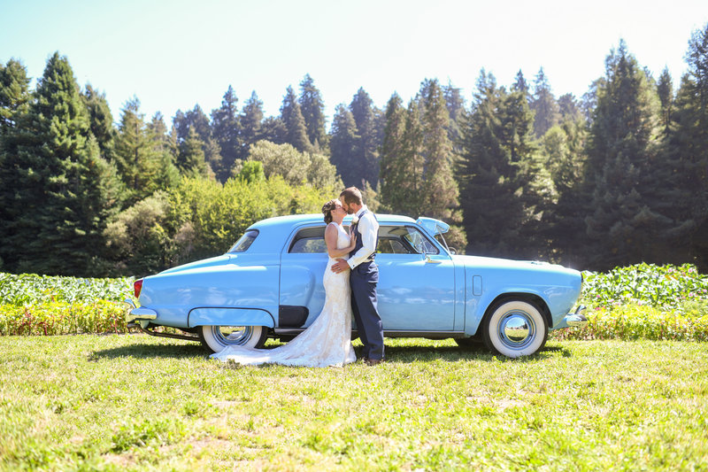 Kissing bride and groom on their wedding day in Northern California