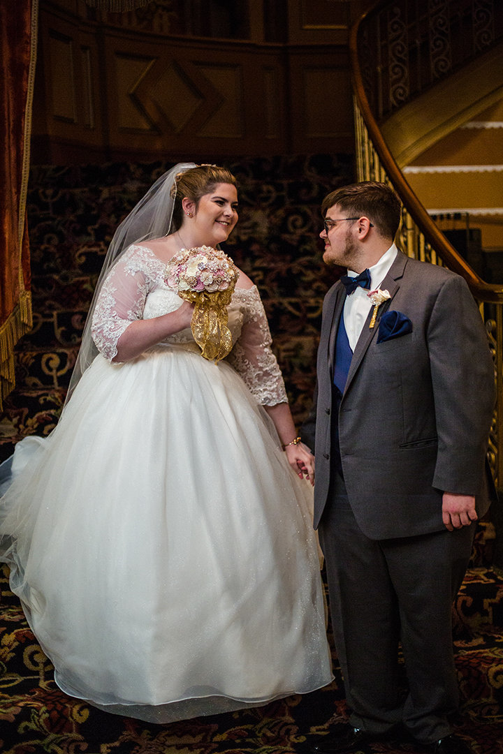 Bride and groom's first look at Warner Theatre in Erie PA