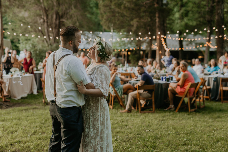 Kylie and Levi's first dance at their bohemian themed wedding in Nashville, Tennessee.