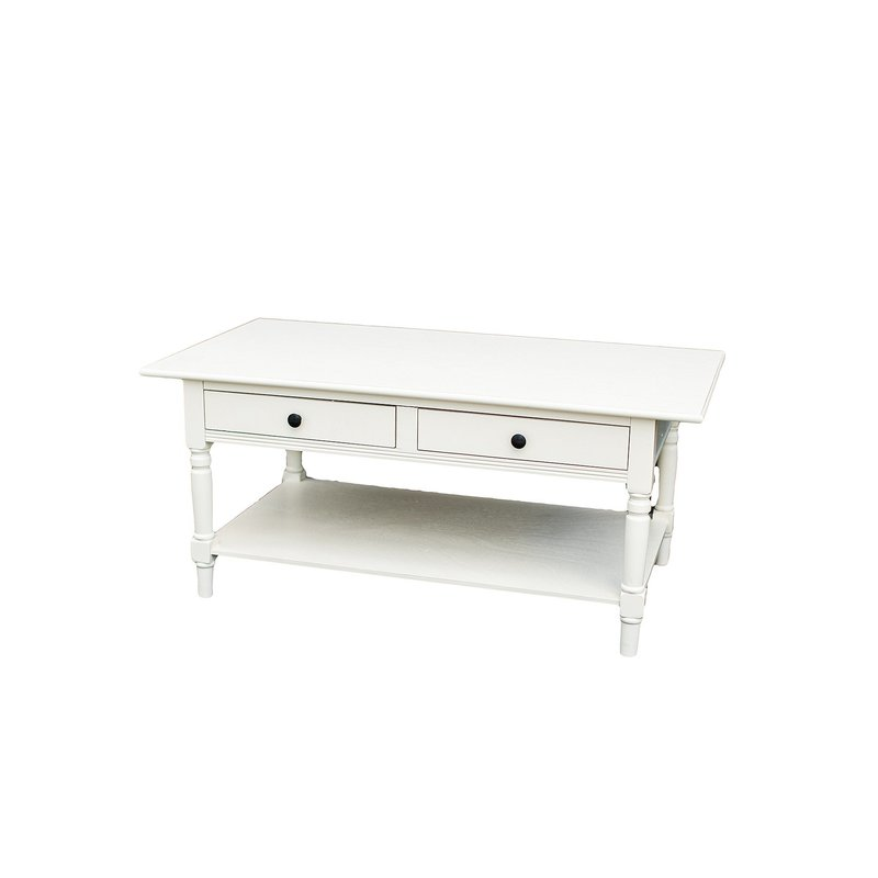 White coffee table with two drawers and bottom shelf.