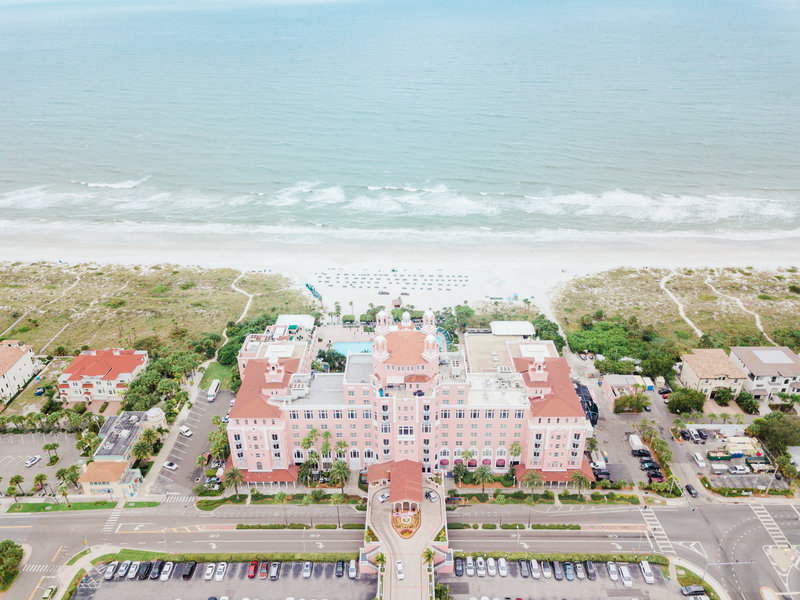 aerial view of hotel at Don Cesar Wedding Photographer in St. Petersburgh Florida by Costola Photography