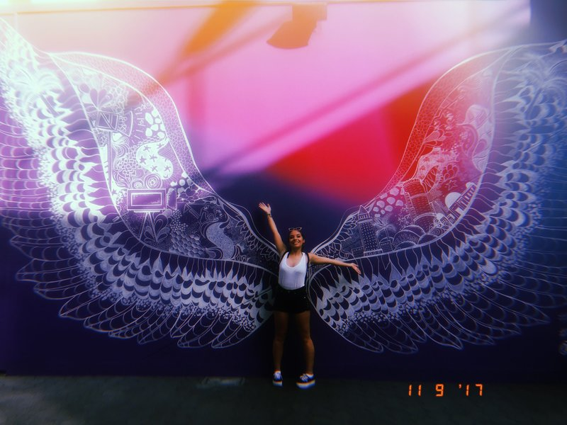 A photo of me in-front of a pair of wings painted on a wall at Universal Studios LA