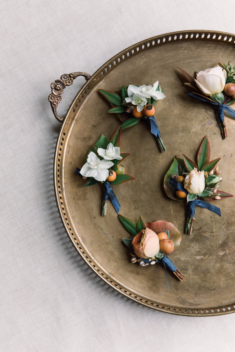 Boutonnieres for wedding by Jenny Schneider Events at a private residence in Marin County, California.