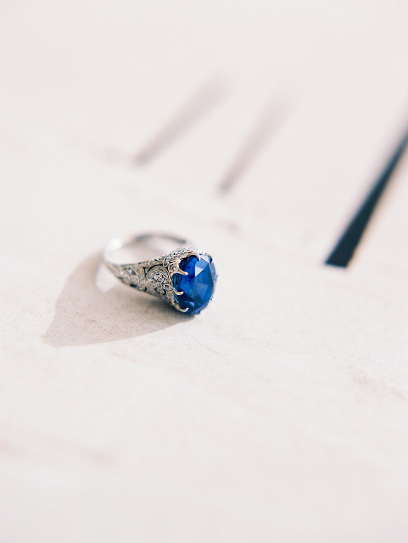 Blue Sapphire Heirloom Engagement Ring