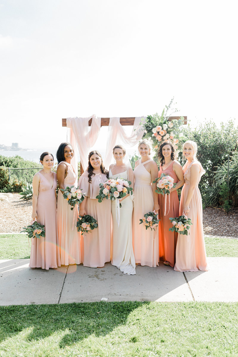 bridal party portraits at Martin Johnson House in San Diego