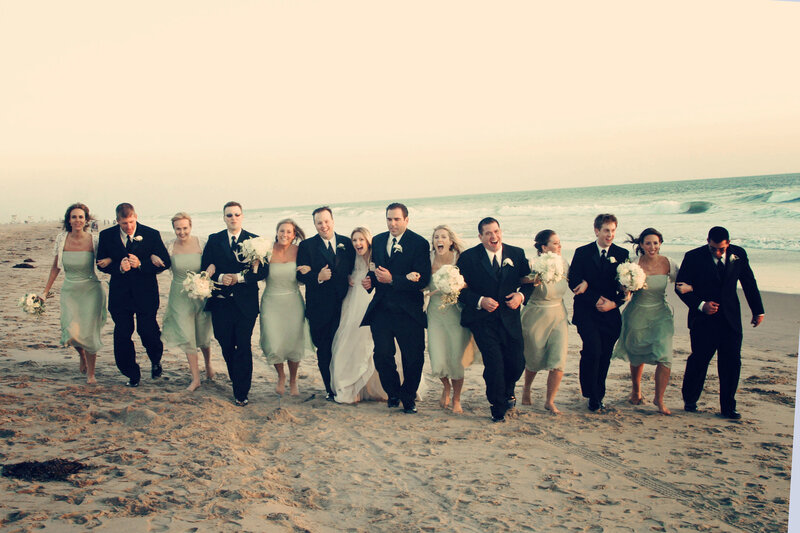 bridal party beach