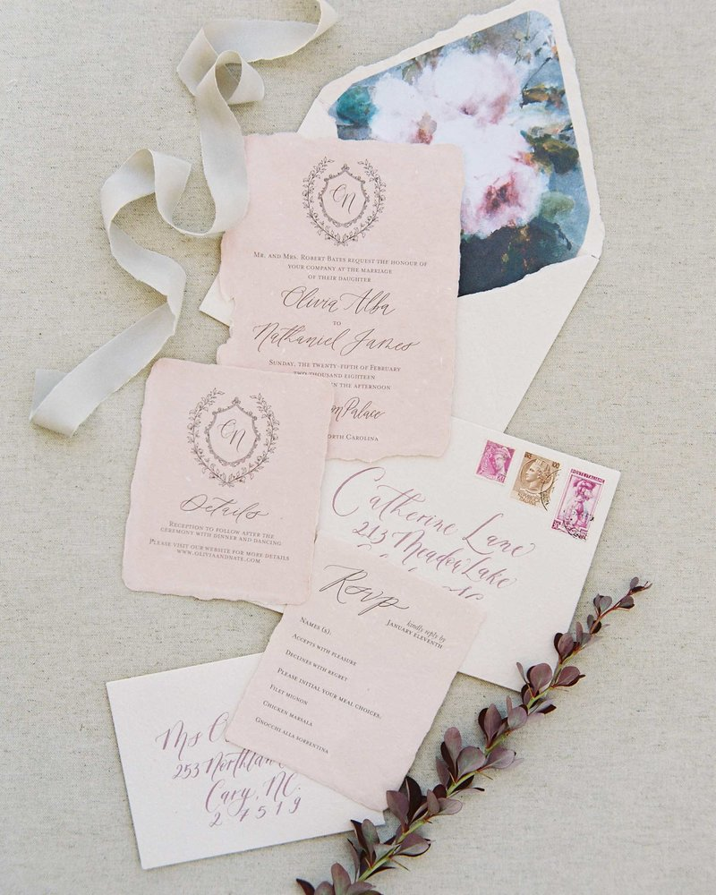 Dominique Alba timeless romantic invitation suite on blush handmade paper