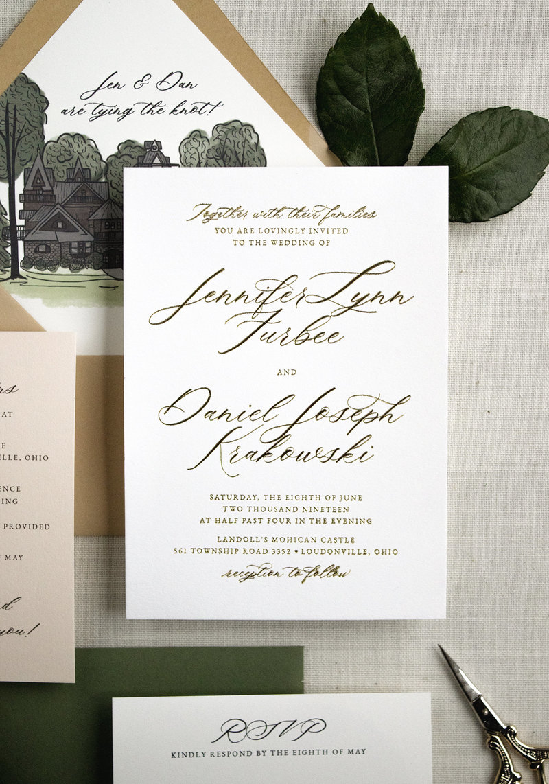 Modern calligraphy wedding invitation with a timeless and heirloom look. Shown here with Gold Foil for a lovely accent.