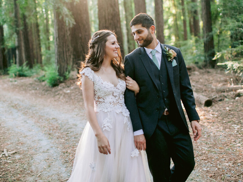 Bride and Groom on path through Redwoods