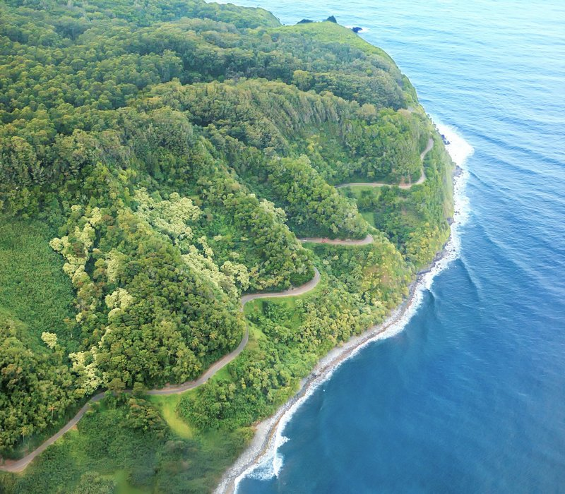 Aerial view of the winding Road to Hana