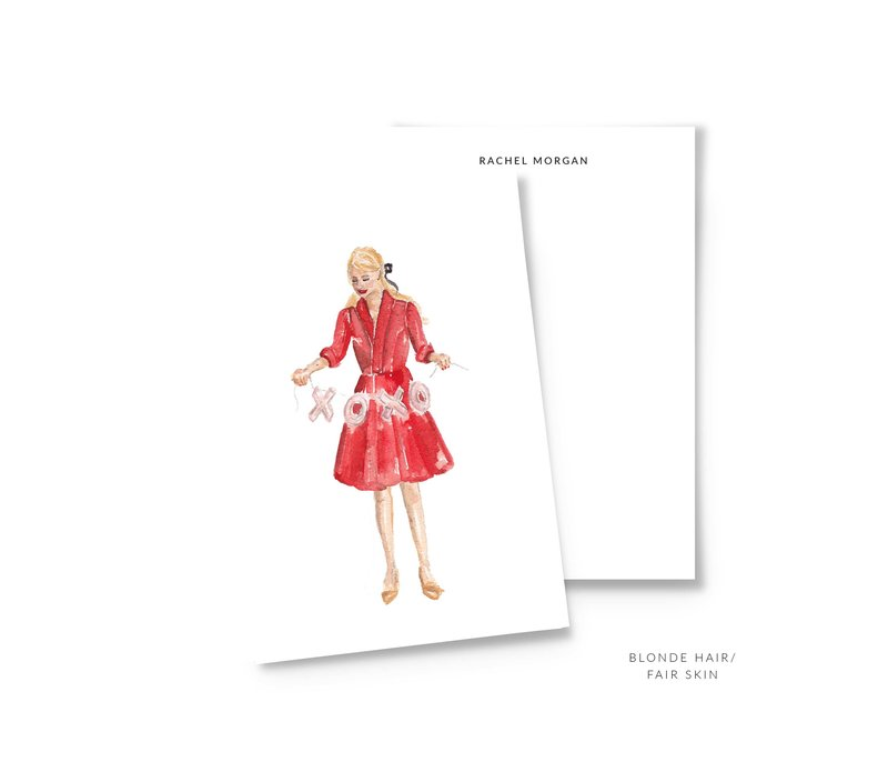 valentine personalized stationery blonde mockup