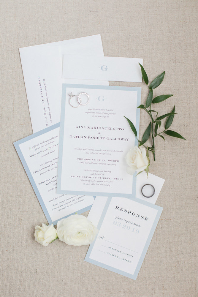 light blue and white wedding invitation suite  at Stone House at Stirling Ridge Maryland Wedding by  Costola Photography