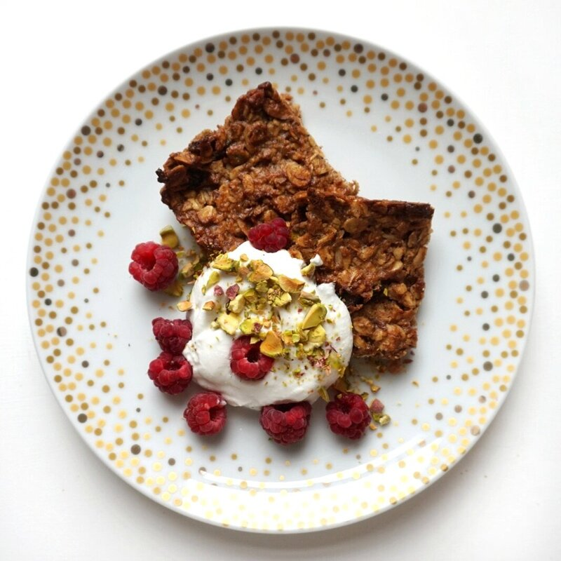 caramelised banana squares with yogurt and berries