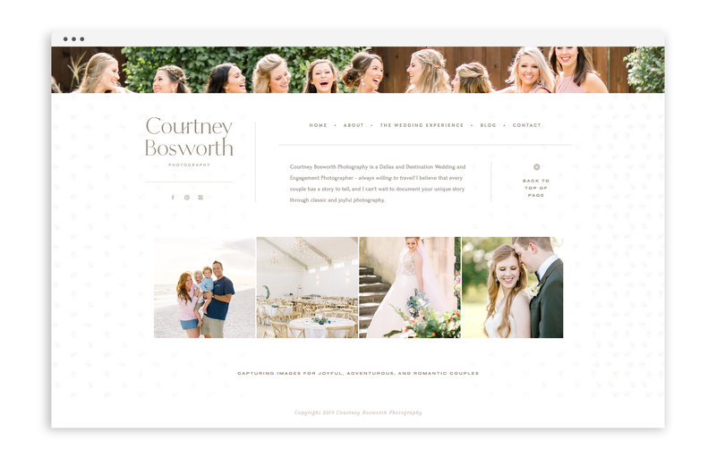 Courtney Bosworth Photography - Custom Brand and Showit Web Design by With Grace and Gold - Showit Theme, Showit Themes, Showit Template, Showit Templates, Showit Design, Showit Designer - 2