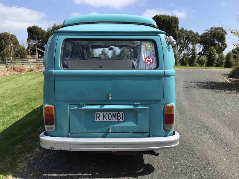 Back view of Rhonda, teal retro kombi van from NZ Kombi Hire