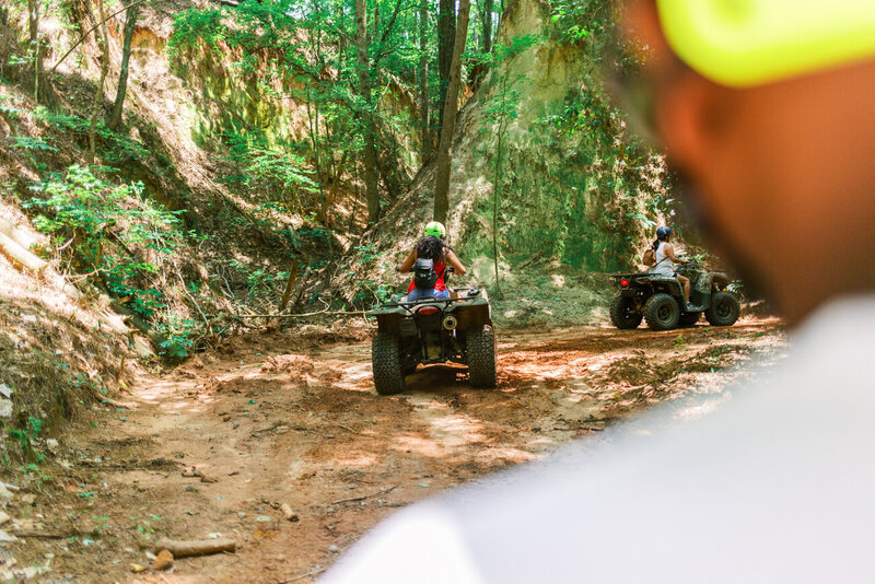 Unique ATV four wheeling experience in a  ravine