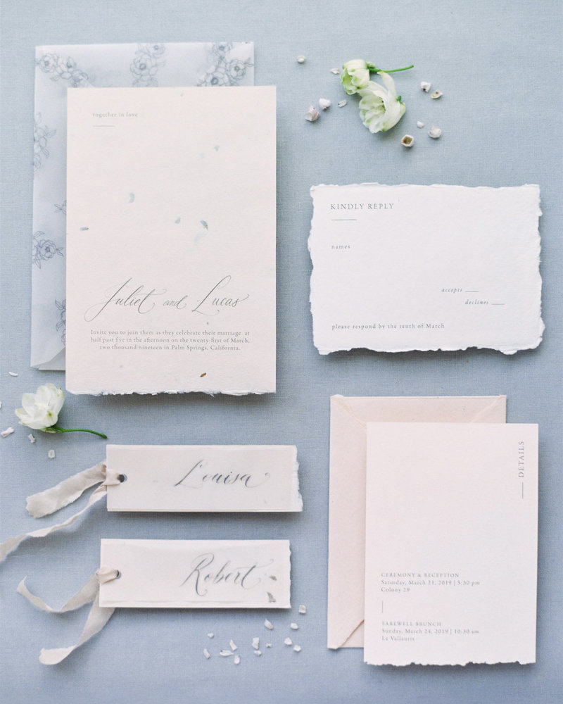Dominique Alba Romantic and Minimal Invitation suite collection handmade paper