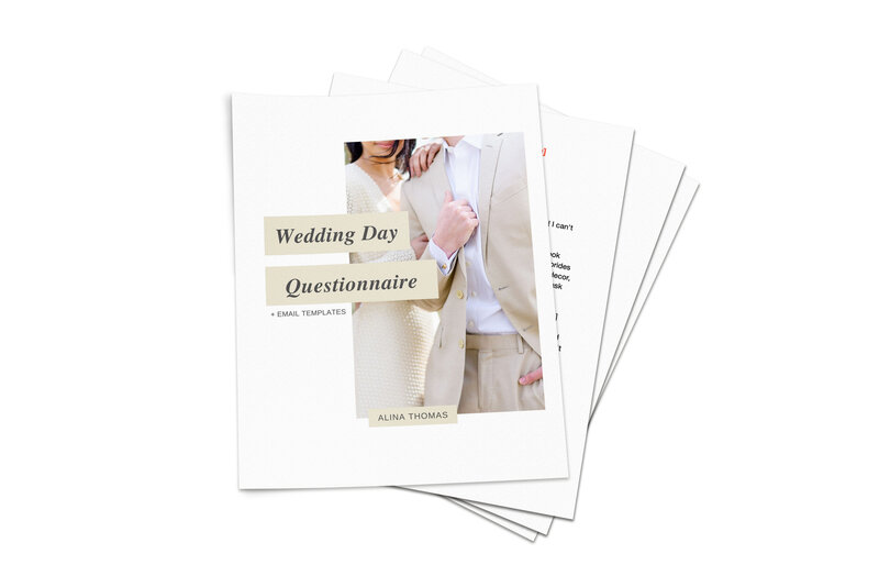 wedding questionnaires for wedding photographers