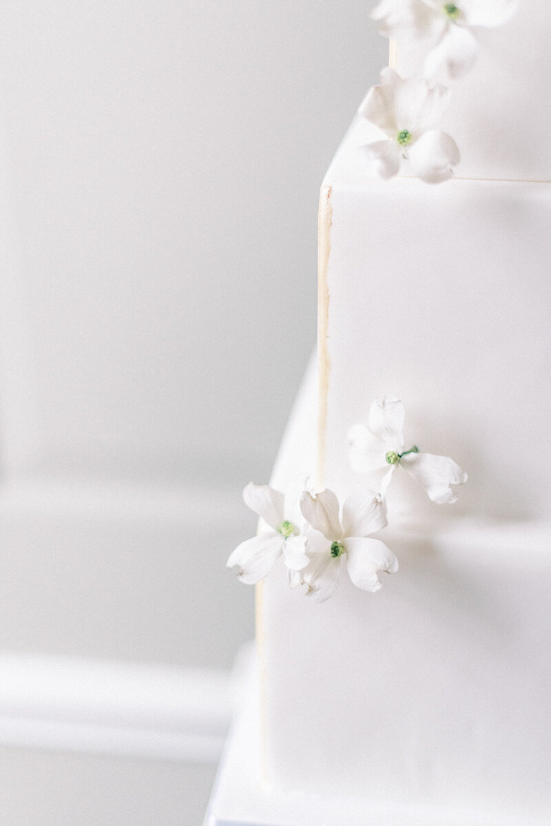 4 tier square white luxury spring wedding cake with sugar flowers  | MonAnnie