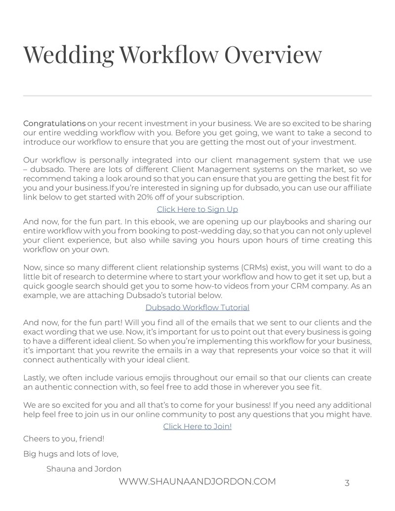 Wedding Workflow Template with Form pg 3