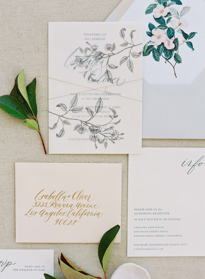 Dominique Alba collections romantic garden wedding invitation suite