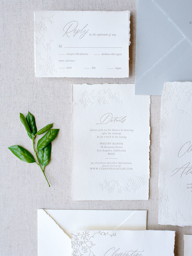 Semi-Custom Invitation Collection - Cascading Beauty Suite with Details Card Add-on Closeup