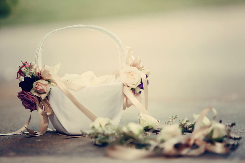 wedding details, flower girl basket
