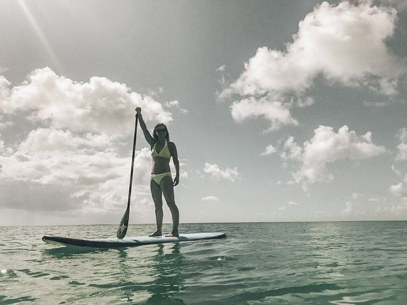 KT Chaloner enjoying SUP in Barbados