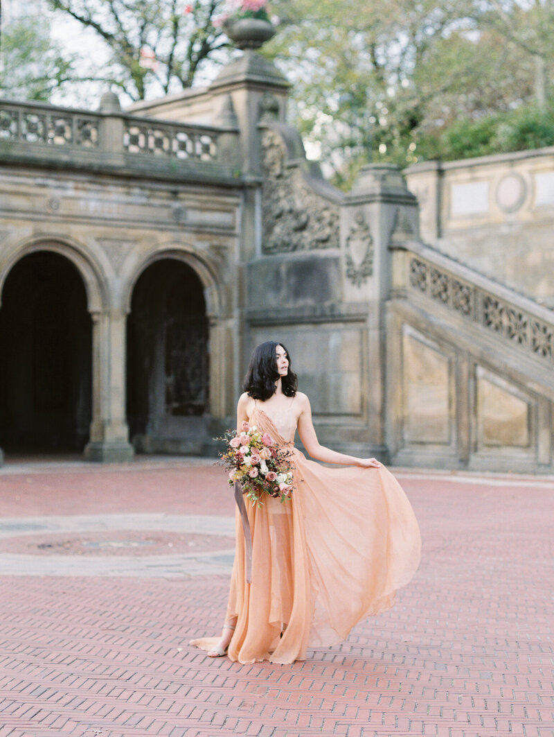 Central Park Bethesda Fountains Wedding Bride Elopement