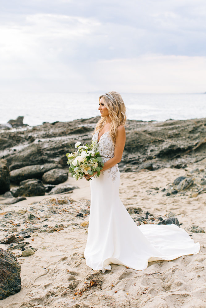 bride at beach in laguna beach