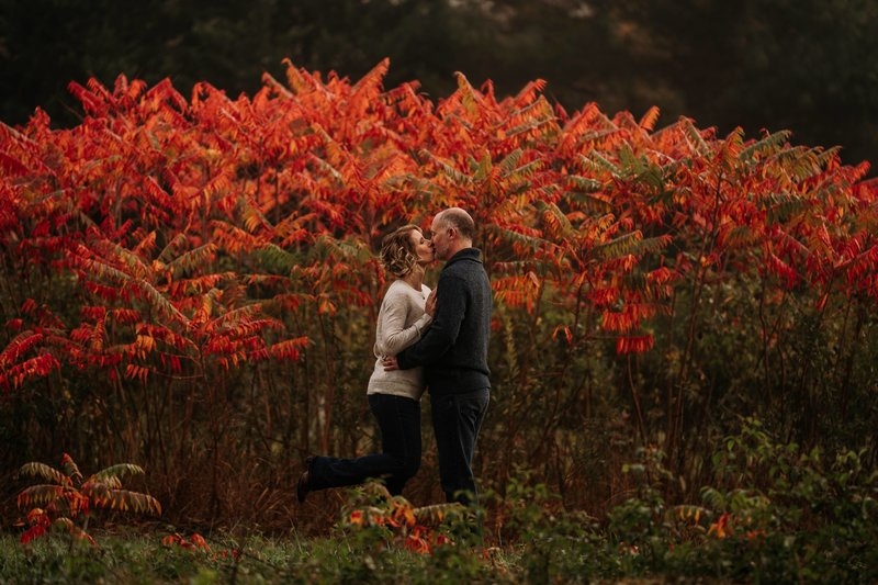 Husband and wife kissing at Christmas tree farm in front of red flowers with early morning fog in winter