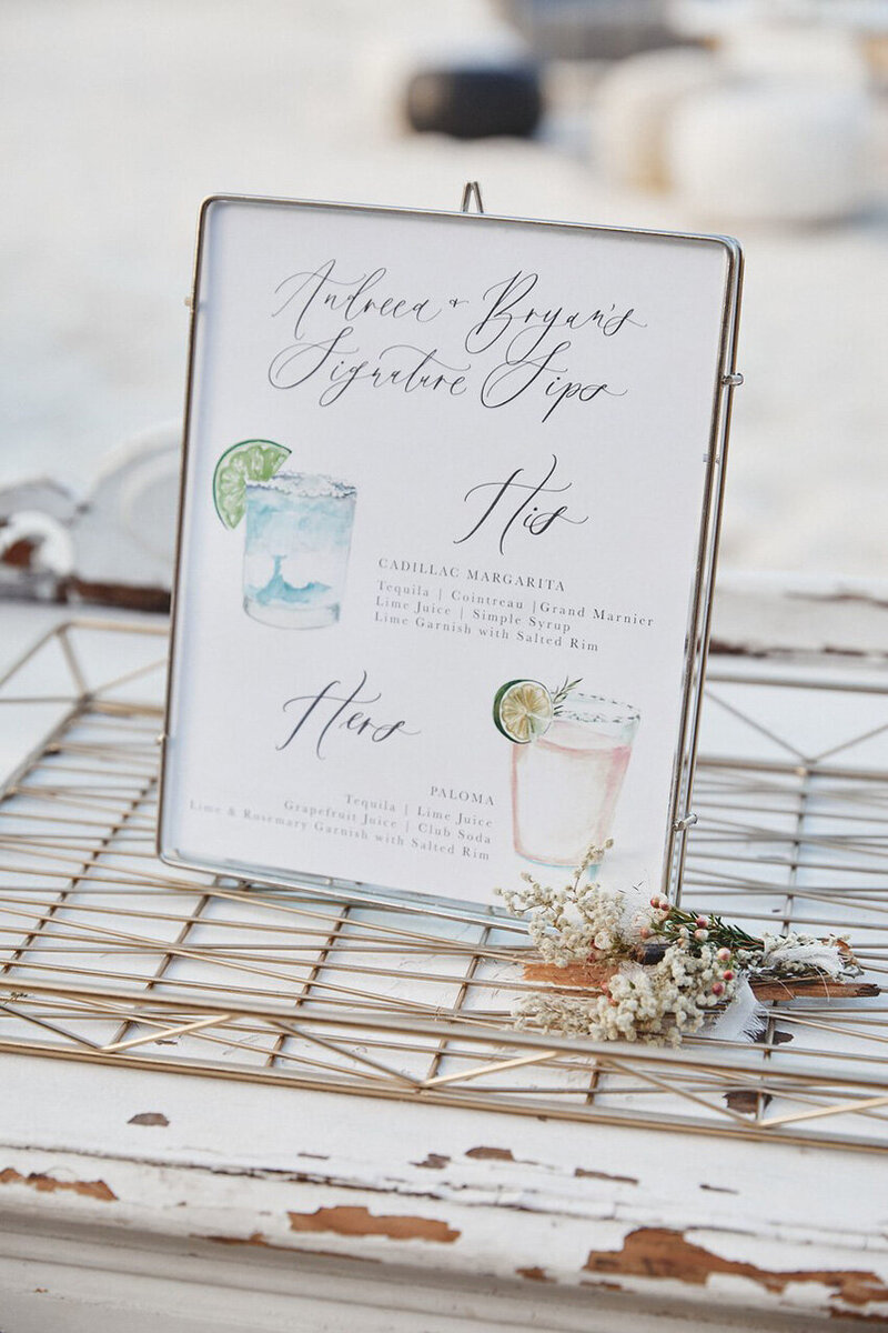 pirouettepaper.com | Wedding Stationery, Signage and Invitations | Pirouette Paper Company | Bar Signs and Bar Menus | Watercolor Signature Drinks 14