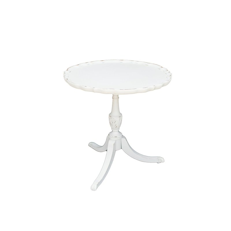 Vintage, white distressed, wooden pie shaped table.