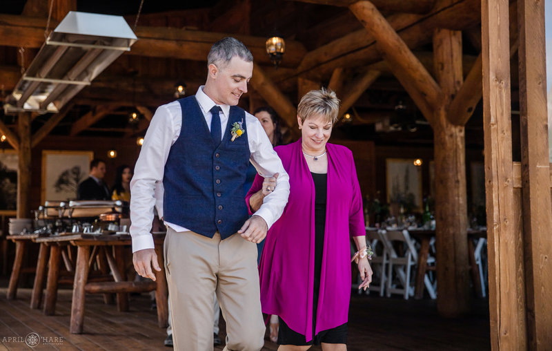 Groom with his mom wedding ceremony at Piney River Ranch
