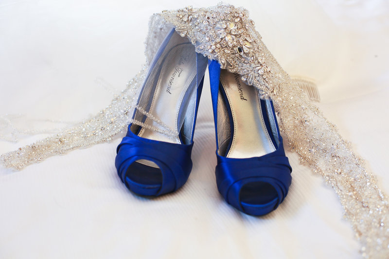 blue wedding shoes, wedding shoes, wedding details